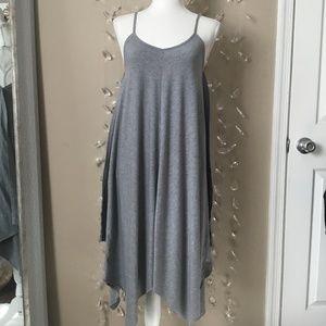Grey Handkerchief Hem Sleeveless Dress